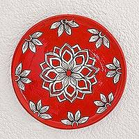 Ceramic decorative plate, 'Garden Passion' - Floral Ceramic Decorative Plate in Red from Guatemala