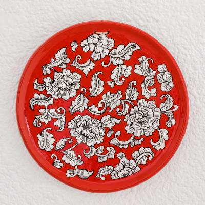 Ceramic decorative plate, 'Garden of Old' - Floral Motif Ceramic Decorative Plate in Red from Guatemala