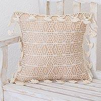 Cotton cushion cover, 'Traditional Motifs in Eggshell' - Handwoven Geometric Cotton Cushion Cover in Eggshell