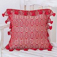 Cotton cushion cover, 'Traditional Motifs in Chili' - Handwoven Geometric Cotton Cushion Cover in Chili