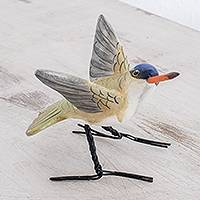 Ceramic figurine, 'Violet-Crowned Hummingbird' - Ceramic Violet-Crowned Hummingbird Figurine from Guatemala