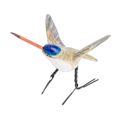 Ceramic figurine, 'Violet-Crowned Hummingbird' - Ceramic Violet-Crowned Hummingbird Figurine from Guatemala