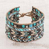Glass beaded wristband bracelet, 'Ancient Delight' - Glass Beaded Wristband Bracelet in Turquoise and Black
