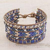 Glass beaded wristband bracelet, 'Ocean Splendor' - Glass Beaded Wristband Bracelet in Blue and Silver