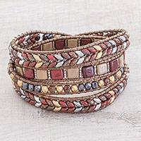 Glass beaded wrap bracelet, 'Guatemalan Splendor' - Glass Beaded Wrap Bracelet in Red and Earth Tones