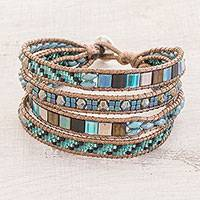 Glass beaded wristband bracelet, 'Ocean Brilliance' - Glass Beaded Wristband Bracelet in Turquoise from Guatemala