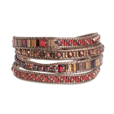 Glass beaded wristband bracelet, 'Sweet Fire' - Red and Brown Glass Beaded Wristband Bracelet from Guatemala