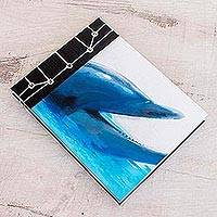 Paper journal, 'Dolphin Call' (5.5 inch) - Dolphin-Themed Paper Journal from Costa Rica (5.5 inch)