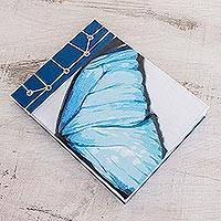 Paper journal, 'Morpheus Wing' (5.5 inch) - Butterfly-Themed Paper Journal from Costa Rica (5.5 inch)