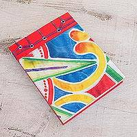 Paper journal, 'Colorful Abstraction' (5.5 inch) - Abstract Colorful Paper Journal from Costa Rica (5.5 inch)