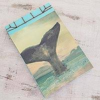 Paper journal, 'Beauty of the Ocean' (8.5 inch) - Whale-Themed Paper Journal from Costa Rica (8.5 inch)