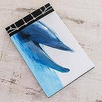 Paper journal, 'Dolphin Call' (8.5 inch) - Dolphin-Themed Paper Journal from Costa Rica (8.5 inch)
