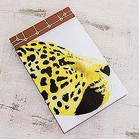 Paper journal, 'Yellow Cheetah' (8.5 inch) - Cheetah-Themed Paper Journal from Costa Rica (8.5 inch)
