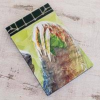 Paper journal, 'Three Toes' (8.5 inch) - Sloth-Themed Paper Journal from Costa Rica (8.5 inch)