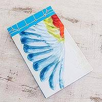 Paper journal, 'Macaw's Wing' (8.5 inch) - Parrot-Themed Paper Journal from Costa Rica (8.5 inch)
