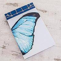 Paper journal, 'Morpheus Wing' (8.5 inch) - Butterfly-Themed Paper Journal from Costa Rica (8.5 inch)