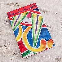 Paper journal, 'Colorful Abstraction' (8.5 inch) - Abstract Colorful Paper Journal from Costa Rica (8.5 inch)