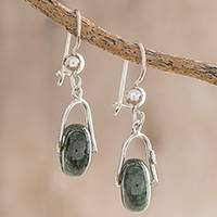 Jade dangle earrings, 'Wheel of Fortune'