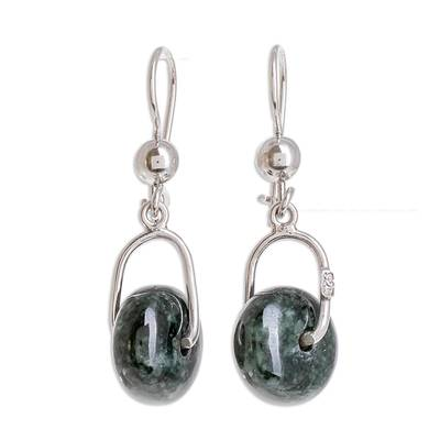 Jade dangle earrings, 'Wheel of Fortune' - Circular Dark Green Jade Dangle Earrings from Guatemala