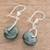 Jade dangle earrings, 'Wheel of Fortune' - Circular Dark Green Jade Dangle Earrings from Guatemala (image 2b) thumbail