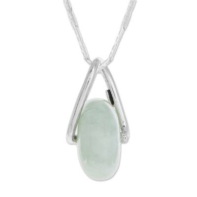 Jade pendant necklace, 'Apple Green Wheel of Fortune' - Round Apple Green Jade Pendant Necklace from Guatemala