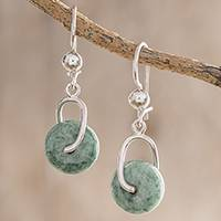 Jade dangle earrings, 'Light Green Wheel of Fortune' - Circular Light Green Jade Dangle Earrings from Guatemala