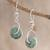 Jade dangle earrings, 'Light Green Wheel of Fortune' - Circular Light Green Jade Dangle Earrings from Guatemala (image 2) thumbail