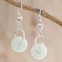 Jade dangle earrings, 'Apple Green Wheel of Fortune'