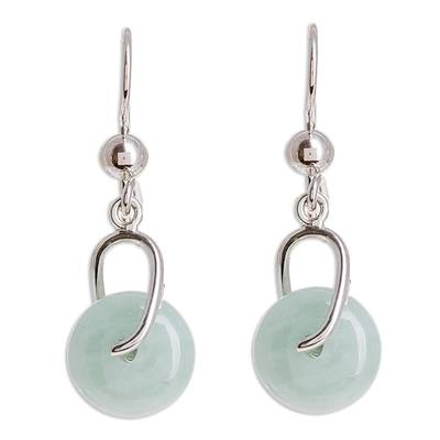 Jade dangle earrings, 'Apple Green Wheel of Fortune' - Circular Apple Green Jade Dangle Earrings from Guatemala