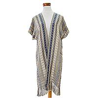 Cotton long kimono jacket 'Textures of Elegance' - Cotton Kimono in Cadet Blue Ochre and Ivory from Guatemala