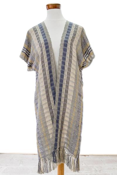 Cotton long kimono jacket 'Textures of Elegance' - Cotton Kimono in Cadet Blue Ochre and Ivory from Guatemala
