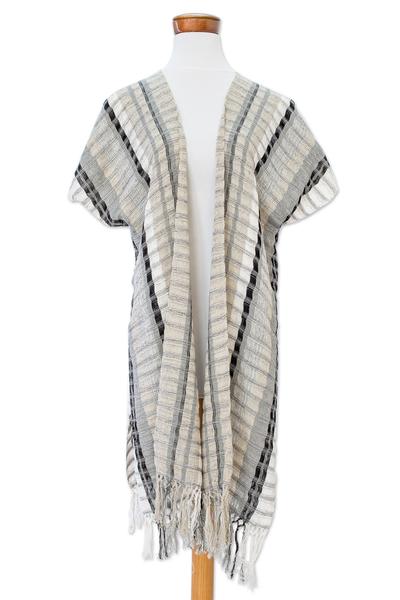 Cotton kimono jacket, 'Time of Elegance' - Handwoven Striped Cotton Kimono Jacket from Guatemala