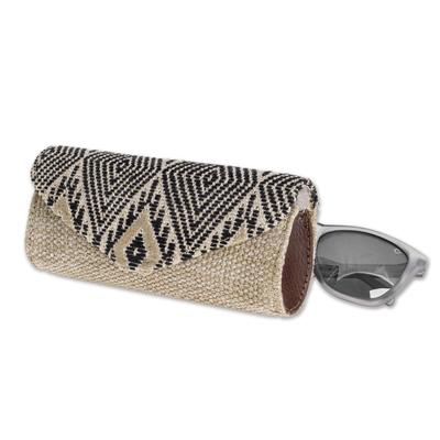 Handwoven cotton eyeglasses case, 'Mayan Cosmos' - Handwoven Cotton Eyeglasses Case in Black and Beige