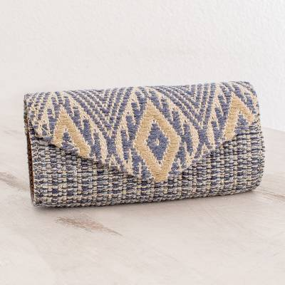 Leather accented cotton eyeglasses case, 'Mayan Cosmos in Cadet Blue' - Handwoven Cotton Eyeglasses Case in Cadet Blue and Ivory