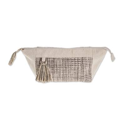 Handwoven Cotton Cosmetic Bag in Ivory and Black