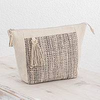 Cotton travel bag, 'Natural Virtue' - Handwoven Cotton Travel Bag in Ivory and Black