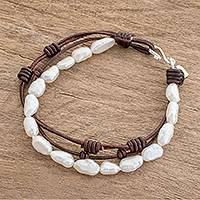Cultured pearl beaded bracelet, 'Sweet White' - Cultured Pearl and Leather Beaded Bracelet from Guatemala