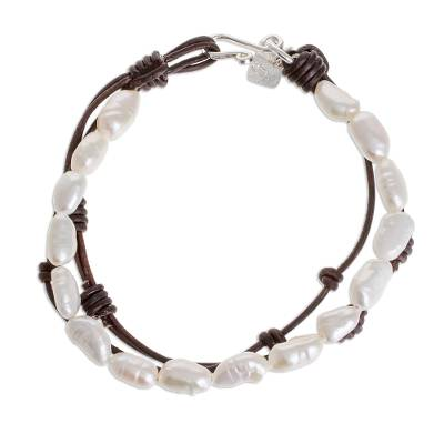 Cultured Pearl and Leather Beaded Bracelet from Guatemala