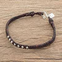 Fine silver and leather beaded wristband bracelet, 'Earthen Brilliance' - Silver and Leather Beaded Wristband Bracelet in Brown