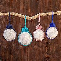 Hand-crocheted ornaments, 'Round Baubles' (set of 4) - Hand-Crocheted Round Ornaments from Guatemala (Set of 4)