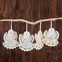 Hand-crocheted ornaments, 'Light and Peace' (set of 4) - Hand-Crocheted Angel Ornaments in White (Set of 4)