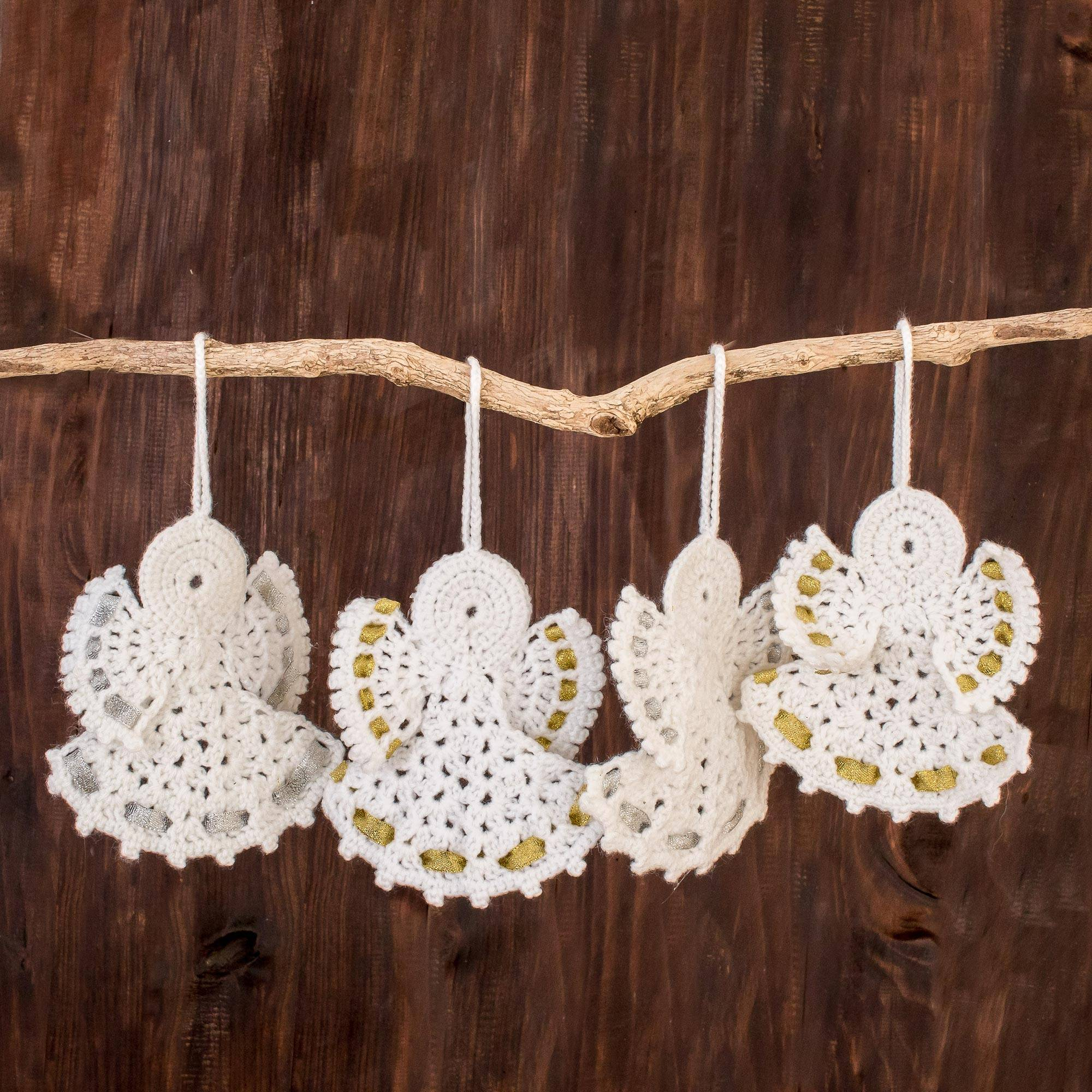Hand Crocheted Angel Ornaments In White Set Of 4 Light And Peace