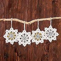 Hand-crocheted ornaments, 'Glittering Snow' (set of 4) - Hand-Crocheted Snowflake Ornaments from Guatemala (Set of 4)