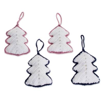 Hand-Crocheted White Christmas Tree Ornaments (Set of 4)