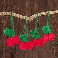 Hand-crocheted ornaments, 'Sweet Cherries' (set of 4) - Hand-Crocheted Cherry Ornaments from Guatemala (Set of 4)