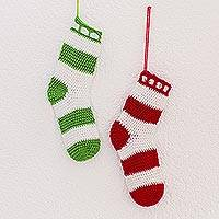 Hand-crocheted ornaments, 'Waiting for Presents' (pair) - Hand-Crocheted Stocking Ornaments from Guatemala (Pair)