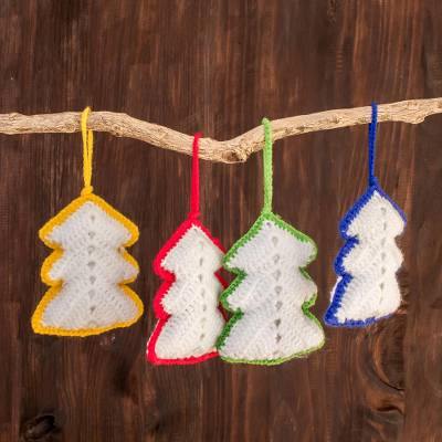 "Hand-Crocheted Christmas Tree Ornaments (Set of 4), ""White Rainbow Christmas Trees"""