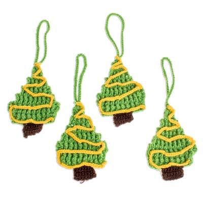 Hand-Crocheted Christmas Tree Ornaments (Set of 4)