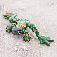 Ceramic figurine, 'Verdant Pond Frog' - Floral Ceramic Pond Frog Figurine in Green from Costa Rica