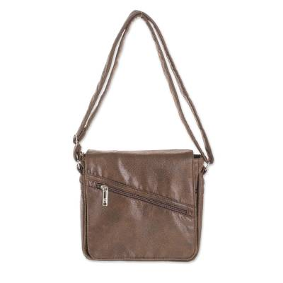 Handmade Faux Leather Messenger Bag in Espresso